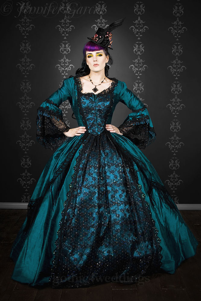 Gothic steampunk marie antoinette wedding dress handmade for Blue and black wedding dresses