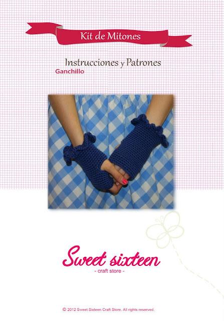 Kit, patrón e instrucciones mitones de crochet