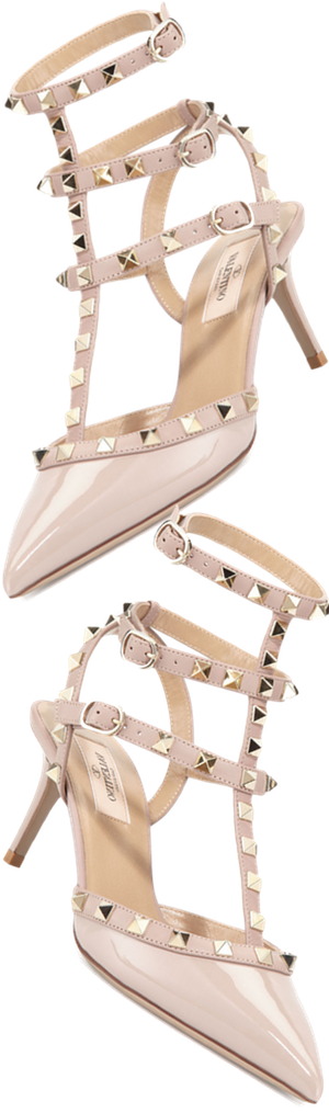 Valentino Rockstud Patent Leather Sandal, Powder