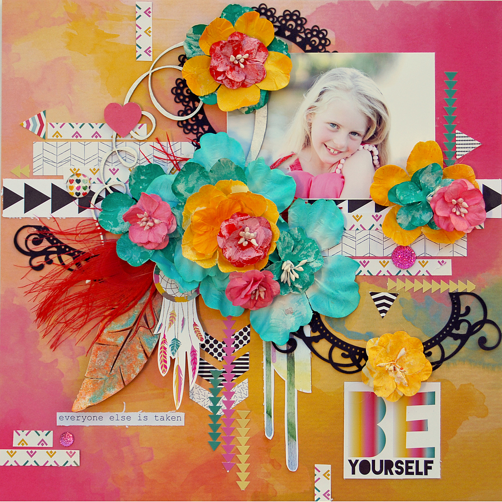 Scrapbook ideas with flowers - Primrose And Mustard Color Shine Was Used On Pale Pink Minuettes And Yellow Mayglo To Add Intensity And To Co Ordinate With The Brightly Coloured Glitz