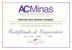 Certificado de Empresária recebido da ACMinas