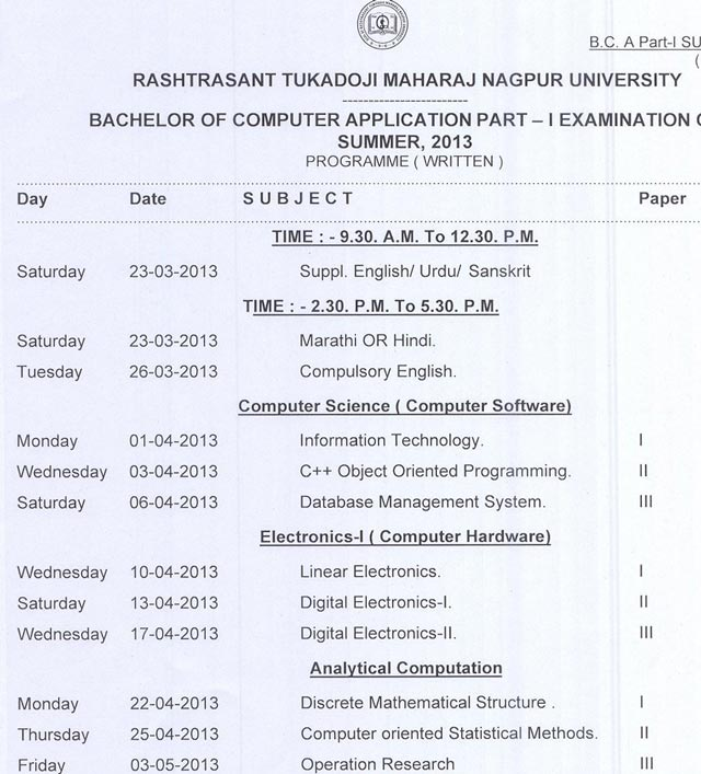 BCA 1st year Summer 2013 Timetable Nagpur University
