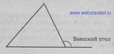 Внешний угол. Треугольник и вешний угол при вершине треугольника. Математика для блондинок.