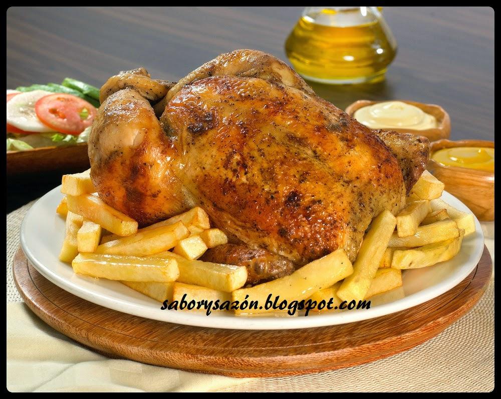plato delicioso y peruano el pollo a la brasa
