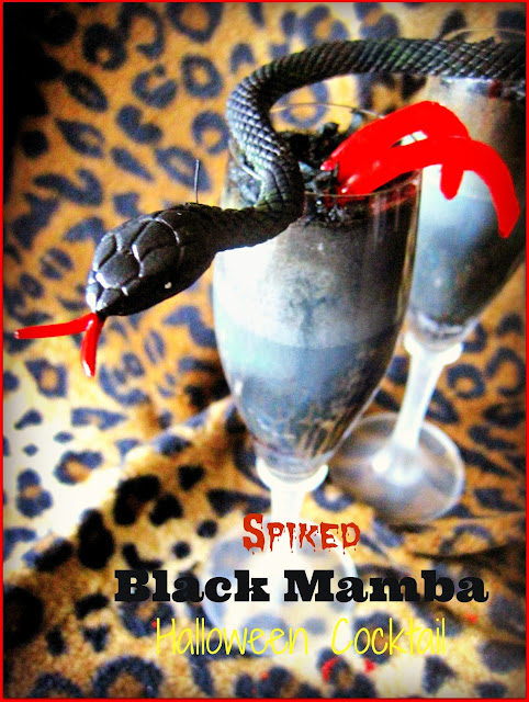 Spiked Black Mamba Halloween Cocktail Recipe, a cocktail with a bite! Malibu, Cacao and Coffee,this combination will keep you warm in the inside on a cold Halloween night. Slither you way into trouble #Halloween #Halloweencocktail #Halloweencreepyfoods #cocktails