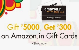 Rs. 300 Free gift Cards on Purchase of Amazon Gift Cards worth Rs. 5000 – Amazon