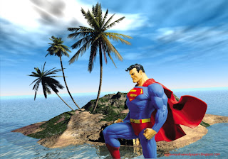 Superman Statue at 3d Island Desktop wallpaper