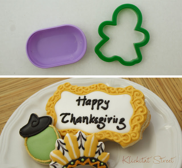 fancy plaque cookies cut with a gingerbread girl cookie cutter
