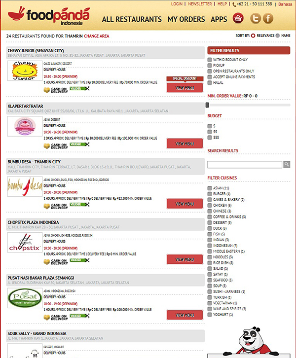 A list of available restaurants will appear for your specified location. Choose one.