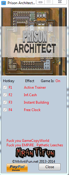 Prison Architect Alpha 21c Trainer +4 MrAntiFun