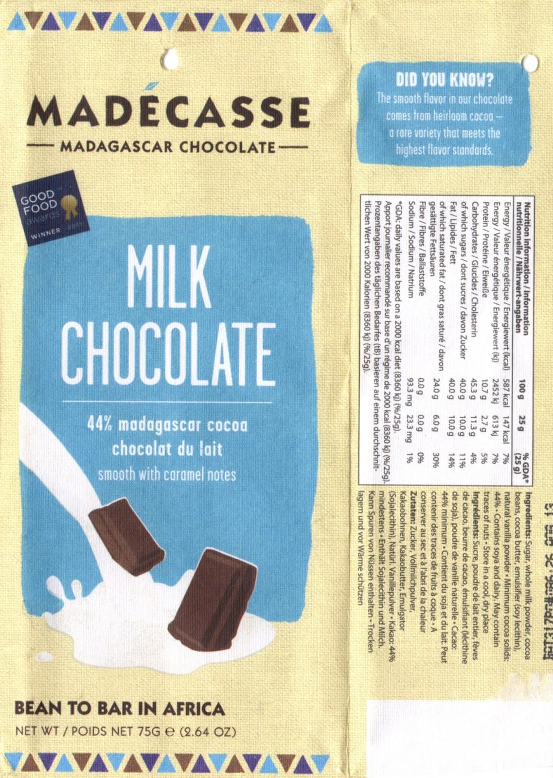 tablette de chocolat lait dégustation madécasse milk chocolate 44