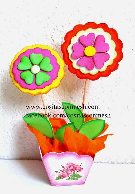 Manualidades flores en foami para el día de la madre ~ cositasconmesh