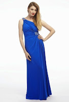 Rochie lunga de seara, asimetrica, marca Dynasty, din jerse fin albastru (Dynasty)