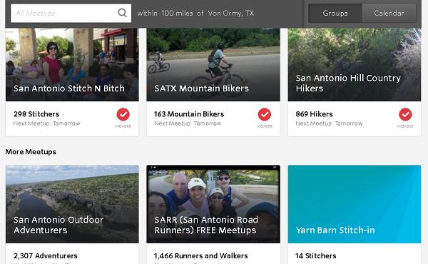Meetups.com home page