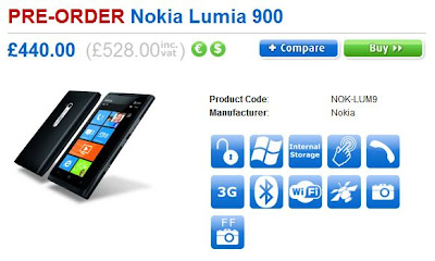 Nokia Lumia 900 available for pre order in the UK