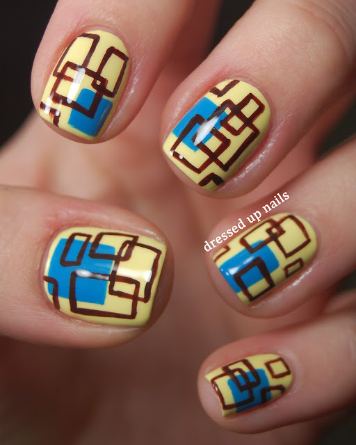 Dressed Up Nails - square pattern nail art with China Glaze Lemon Fizz