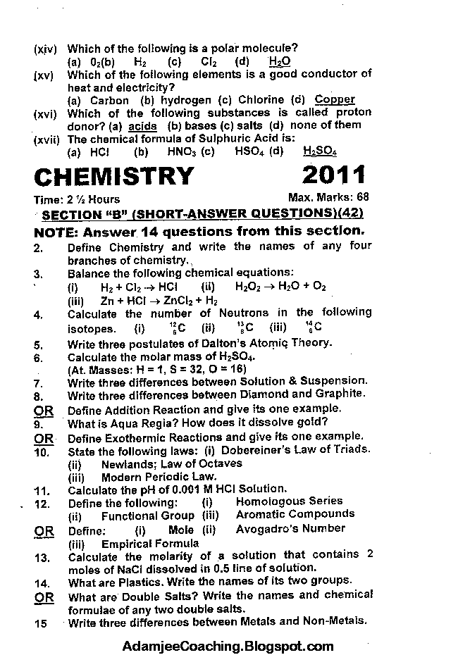 Chemistry Past Year Paper 2011