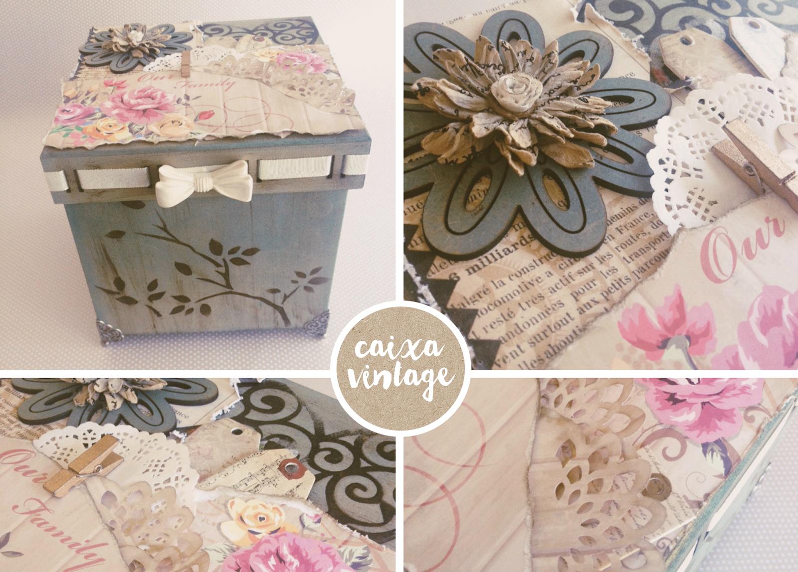 Caixa Artesanato Vintage ~ Ateli u00ea Craft Oficinas da Semana ScrapBooking e Arte em