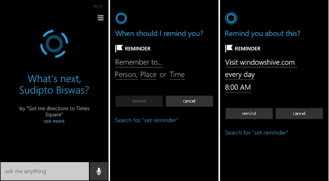 cortana, set reminder with cortana, windows phone