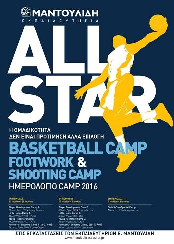 All Star Basketball, Footwork & Shooting Camp από τον Μαντουλίδη