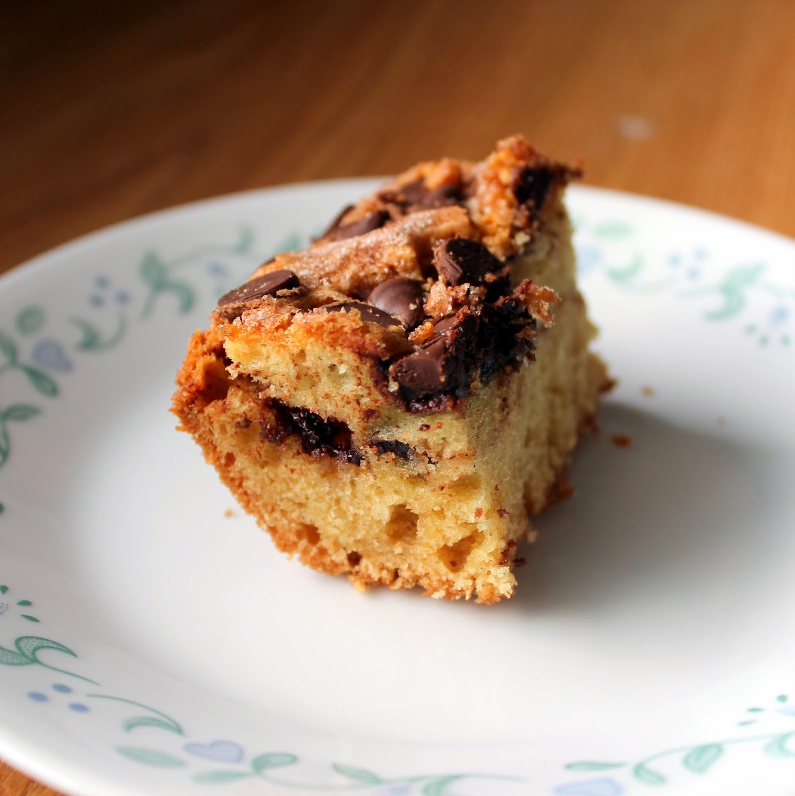 Chocolate chip coffee cake dessert breakfast