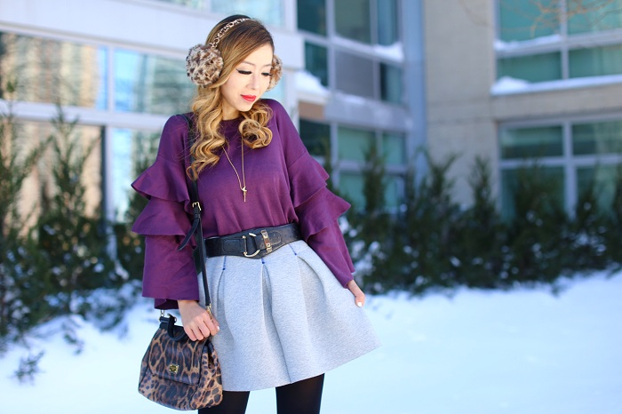 Burgundy knit to with tiered frills, dolce gabbana sicily bag, leopard earmuffs, gorjana zorah pendent necklace, grey aline skirt, winter outfit, sam edelman burgundy heels, snowday outfit