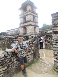 My guide Jose Luiz fronting the only tower in Mayan antiquity, Palengue