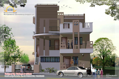 3 Story House Plan and Elevation- 248 Sq M (2670 Sq. Ft.)