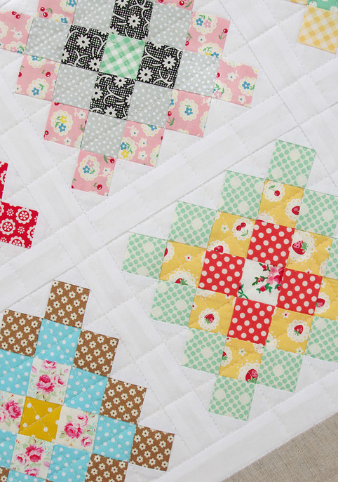 quilting detail for the Great Granny Square patchwork blocks