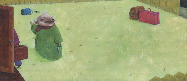Imagen ilustrada del abuelo Pedro en el jardín