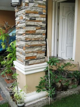 The Photo Above Shows A Square Post In Our Porch That Has Faux Stone Panel  For Its Siding. On The Right Side Is A Tristellateia Australasiae Vine, ...