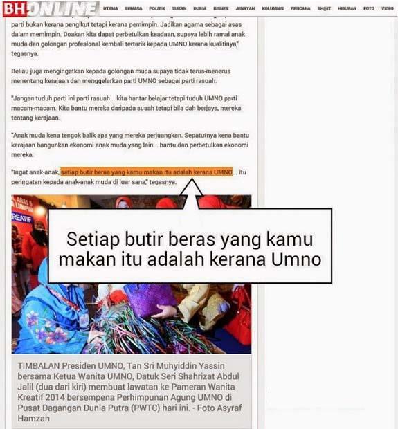 Najib Razak: Setiap Butir Beras yang Anda Makan Adalah Hasil Perjuangan Umno