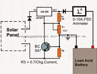 Simple solar charger circuit using IC LM338 with current control feature