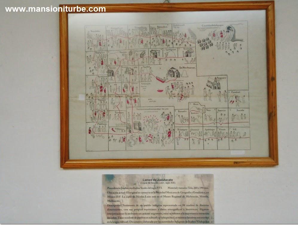 Lienzo de Jucutacato en la Exposición códices y lienzos de Michoacán