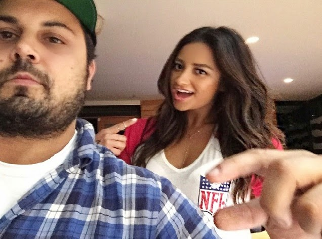 Shay Mitchell Wearing NFL Tee