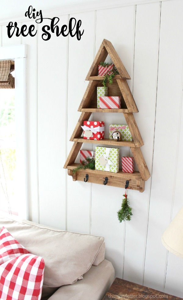 diy tree shelf Christmas decor