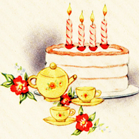 image birthday cake candles tea cup set teapot afternoon tea flowers vintage