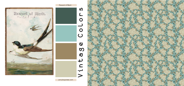 floral wallpaper print vintage color palette from vintage ephemera