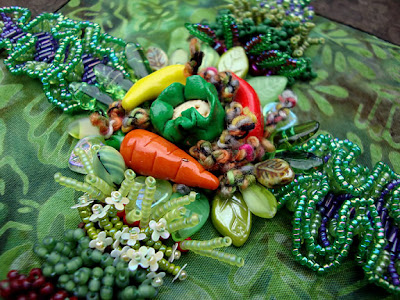 bead embroidery by Robin Atkins, bead journal project, garden, texture detail