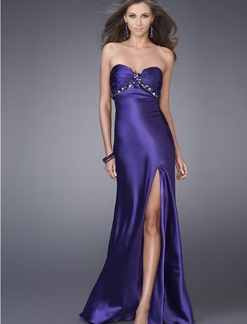 Charmeuse Strapless Sweetheart Neckline Empire Prom Dress with Front High Side Split