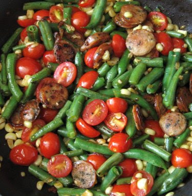 Chicken sausage, corn, green beans, and grape tomatoes