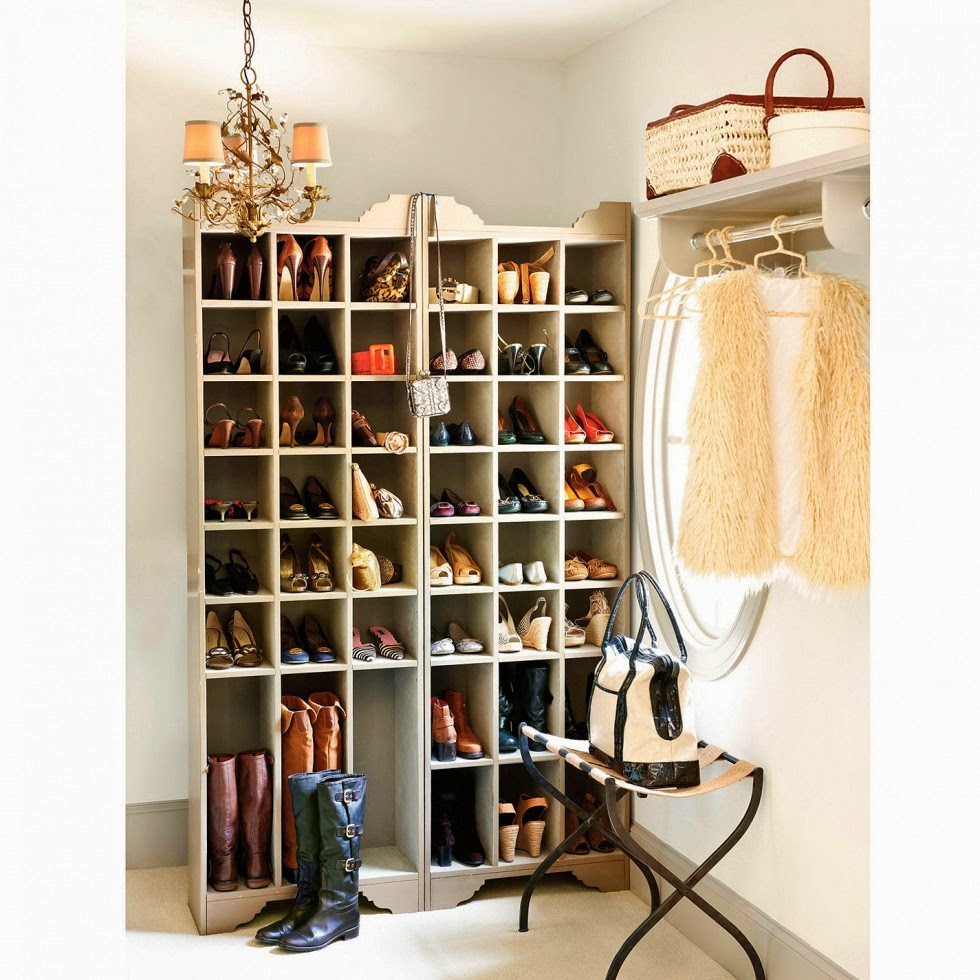 vertical shoe storage in small entrway; mudroom
