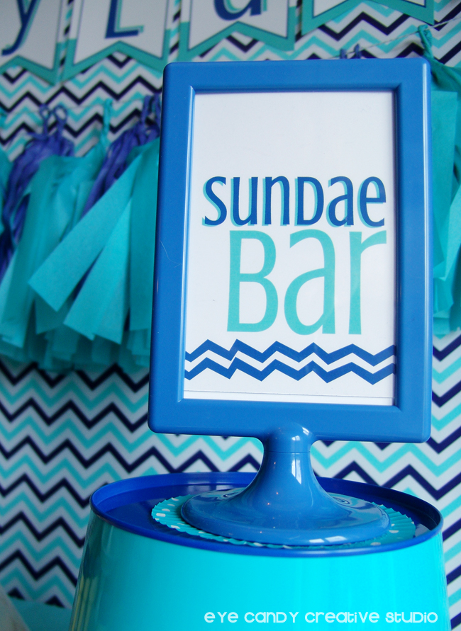sundae bar sign, craft birthday party, crafty, chevron, sundae bar, toppings