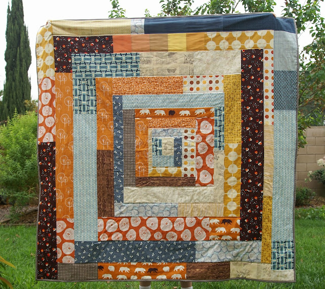 Autumn Sky fall log cabin quilt by Fabric Mutt