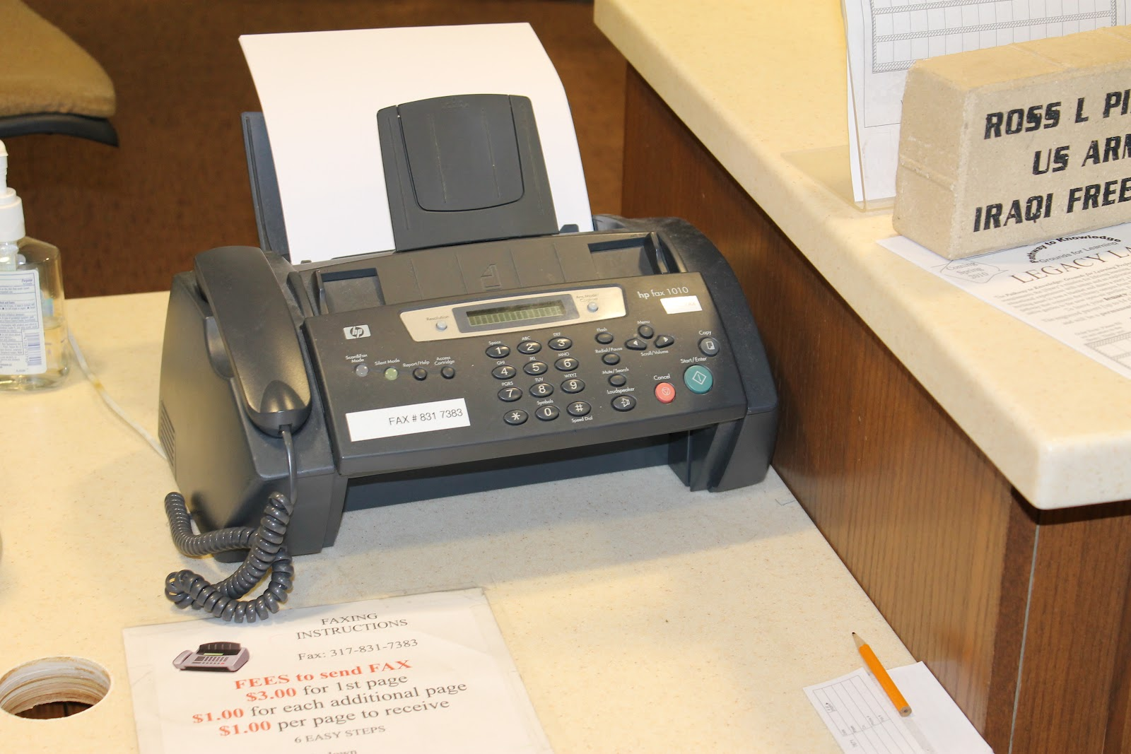 fax machine at library
