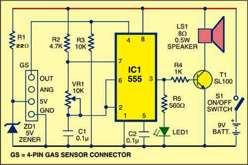 Detector Circuit of Gas Leak with SEN-1327
