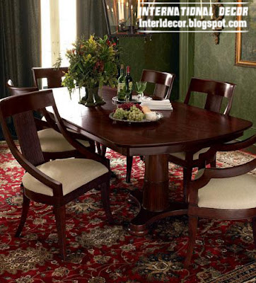 Spanish wood dining room furniture, classic brown dining room furniture