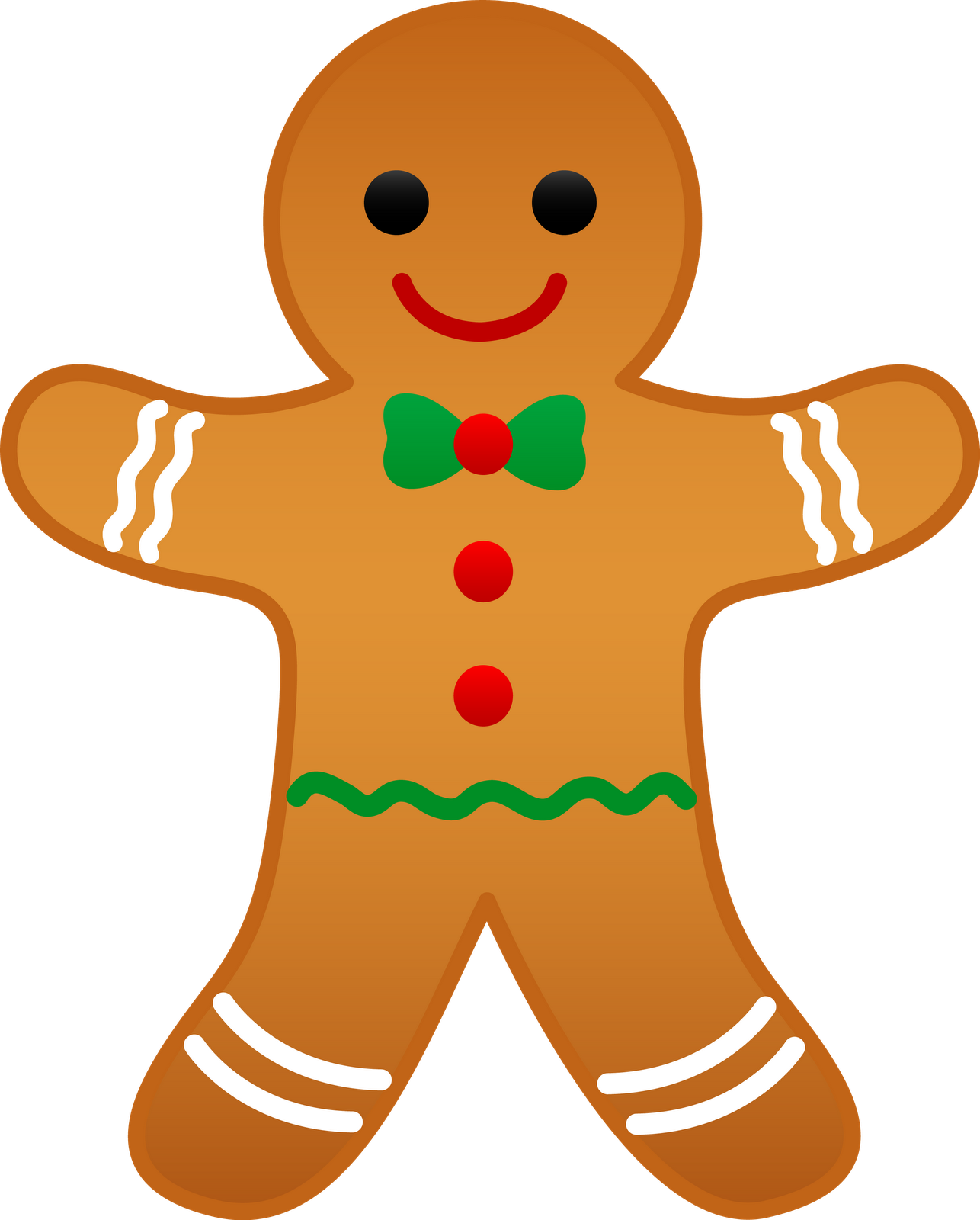 ... decoration on yellow Christmas gingerbread man smiling clip art image