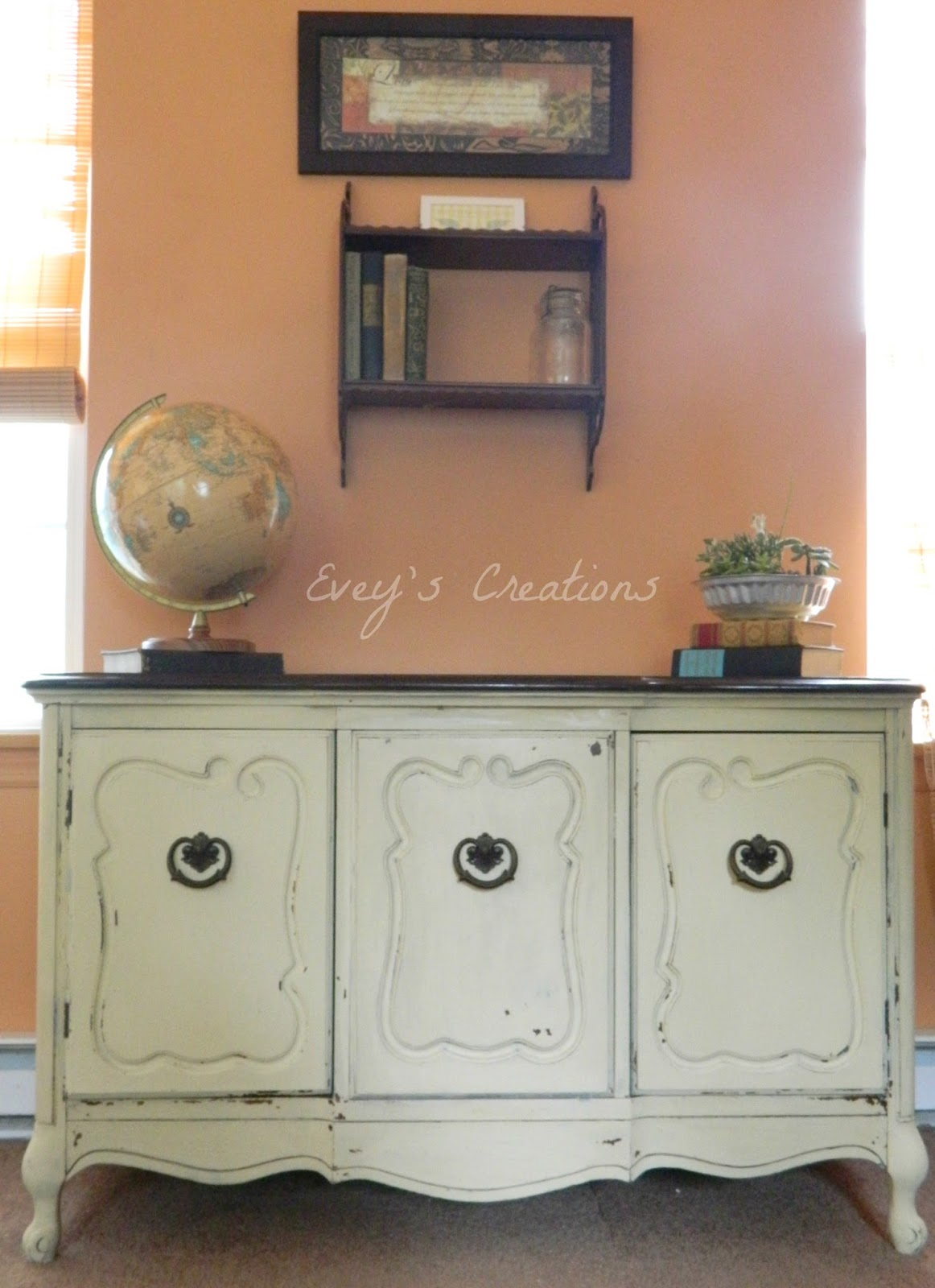 Evey S Creations Shabby Chic Storage Milk Painted Vintage Buffet The Fab Furniture Flippin Contest