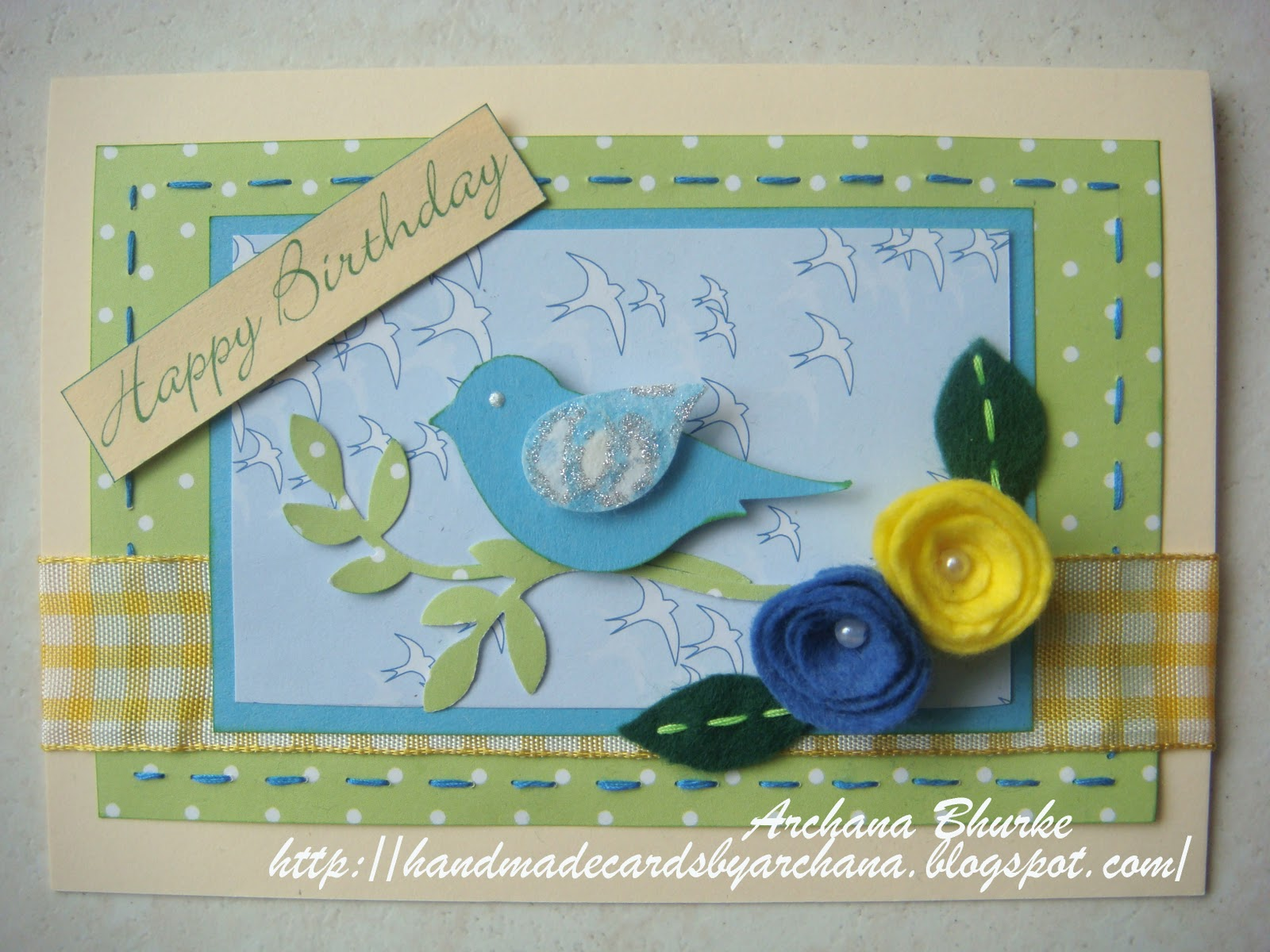 Handmade Cards By Archana Happy Birthday